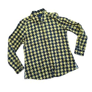 Foxcroft Yellow Black Houndstooth Blouse